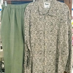 FLAX Women 100% Linen Shirt Crop Pants Set Sz S/M